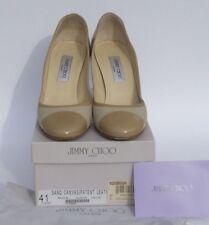 JIMMY CHOO Belgium Sand Beige Canvas Patent Leather Cap Toe Heels Pumps 41 w Box