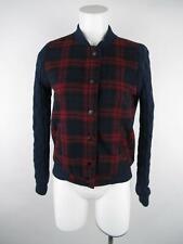 Boy Meets Girl Women sz M Blue Plaid Cable Knit Sleeve Button-Down Bomber Jacket