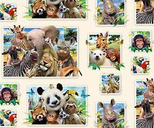 Funny Animal Selfies Snapshots Cream Cotton Fabric Elizabeths Studio By The Yard