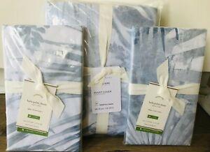 Pottery Barn Layla Duvet Cover King Euro Shams Set Beach Palm Blue White Organic