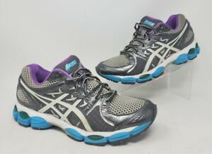 Asics Gel Nimbus 14 Running Shoes Womens Gray Purple White Sneaker Size 8.5