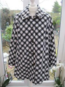 Bob Mackie Wearable Art Houndstooth Fleece Jacket Coat Cream/Black Medium New