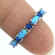 Delicate Silver Plated Blue Fire Opal & Sapphire Ring Size 7