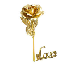 Mother's Day Special Forever Gold Rose,Long stem with LOVE stand.