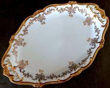"""12.5"""" Vg German Weimar Katharina 14051 White/ Gold Floral Porcelain Oval Platter"""