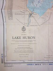 Canadian Hydrographic Maritime Chart  Lake Huron 1980  Great Lakes