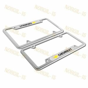 For CHEVY CHEVROLET Silver Metal Stainless Steel License Plate Frame NEW X2