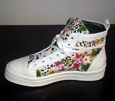 Floral Print Sneakers Ankle Boots Canvas High Top Leather Platform Lace Shoes 38