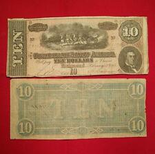 1864 CIVIL WAR CONFEDERATE MONEY $10.00 TEN DOLLAR NOTE BILL RICHMOND VA