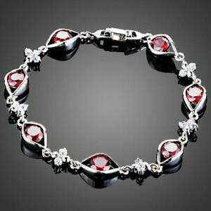Valentines Gift For Her Love Birthday MAROON CUBIC ZIRCONIA EYE SHAPED BRACELET