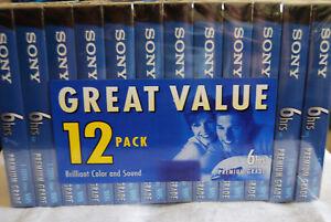 SONY T-120VL Blank VHS Premium Grade Videocassette 12 Pack NEW Sealed