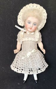 Antique 6 Inch All Porcelain  Head With Composition Body Reproduction Doll