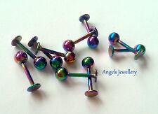 Rainbow ANODIZZATI Stud Labret Tragus Labbra Bar Anello Monroe Orecchio Elica Cartilagine 8 mm
