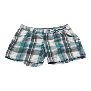 Unionbay Short Shorts Womens 9 Juniors Multicolor Plaid Flap Pockets Low Rise