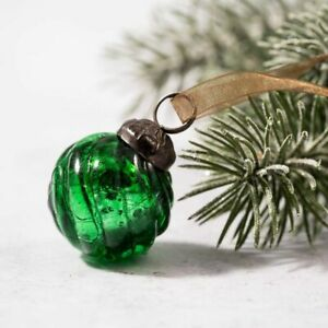 6 Pack Small Glass Handcrafted Baubles Premium Traditional Christmas Tree Craft