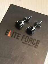 Elite Force Stainless Steel Round  Onyx Cubic Zirconia Unisex 8mm Stud Earrings