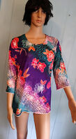 JOSTAR 3/4 Sleeve TOP Purple & Coral FLORAL SLINKY Poly Spandex No Iron S,M,L,XL