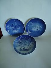 Three Vintage B&G Copenhagen Blue Delft Porcelain Plates 1966, 1970, and 1976