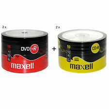 MAXELL 50Pk DVD-R And CD-R Blank Recordable Disc CDs CDR DVDR 2 Pack's Of Each