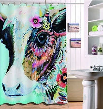 US Stock Fabric Shower Curtain Set Funny Colored Flowers Cow Bathroom Decor 71