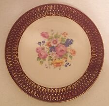 6 Southern Potteries Blue Ridge Floral Luncheon Plates