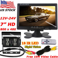 "Waterproof Reverse Backup Rear View Camera +12V-24V 7"" LCD Monitor for Bus Truck"