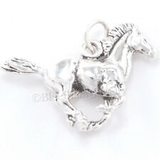 3D RUNNING WILD MUSTANG Horse Charm Pendant Solid 925 STERLING SILVER Detailed