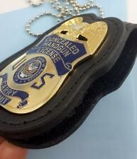 Concealed Carry permit  Handgun License Badge gold plate & custom leather holder