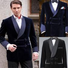 Vintage Navy Black Men's Velvet Blazers Double Breasted Shawl Collar Plus Custom