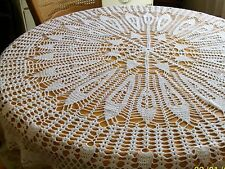Vintage tablecloth hand crocheted white round tablecloth 57 inch diameter