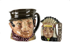 2pc Royal Doulton Sam Weller D6064 Large, North American Indian Toby Jug Mug