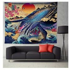 Tapestry Wall Hanging Blanke Mandala Japan Kanagawa Waves Tapestry Whale Arowana