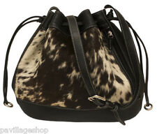 Pony Hair Drawstring Leather Purse w/ Shoulder Strap in Black