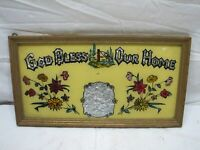 Antique Tin Foil Folk Art Reverse Painted God Bless Our Home This House Tinsel