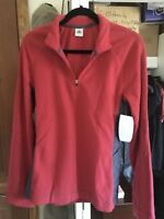 ALO YOGA Women's Micro Fleece SOFT STRETCH 1/4 Zip Pullover, Red/Grey, LARGE NWT