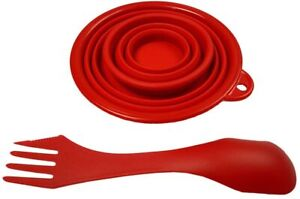 RVRLife Silicone Collapsible Bowl Cup Set with Durable Plastic Rim and Spork Red
