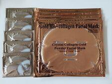 ( 10 )  5 Pieces Gold Bio Collagen Facial Face Masks + 5 Pairs Pilaten Eye Pads