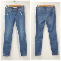 Cabi 2 Womens Medium Wash Distressed Destructed Skinny Jeans Denim