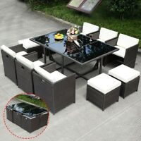 11 Pcs Wicker Rattan Patio Furniture Outdoor Pool Dining Table Cushion Seat Set