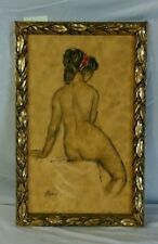 Vintage Sitting Female Nude Painting by B. Simon in Gold-tone Frame