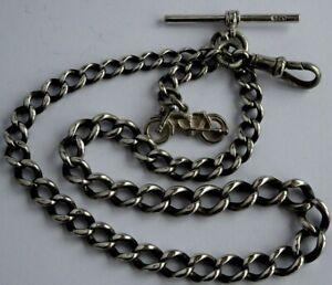 Fantastic antique solid silver pocket watch albert chain & silver motorbike fob