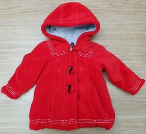 MOTHERCARE Baby Girls Red Fleece Zip Up Coat Jacket Lining Polyester  6-9 Months