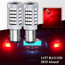 2Pcs 1157 BAY15D DC 12V 2835 66 SMD LED Bulb Indicator Brake Tail Lamp Bulb Red