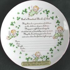 Irish Decorative Porcelain Plate To Record Baby's Birth Shamrocks Baby Angels