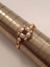 Delightful Fine Victorian 18ct Gold Natural Ruby & Seed Pearl Ring - Circa 1880