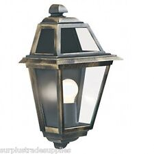 SEARCHLIGHT 1523 QUALITY BLACK/GOLD OUTDOOR WALL LIGHT CLEAR GLASS LANTERN HALF.