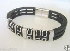 Armband metaal en rubber, breedte = 14 mm, magneetsluiting