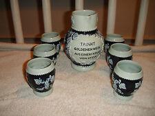Vintage German Stein Pitcher W/6 Cups-Trinkt Wein-Grape & Leaves Raised Design