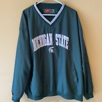 Michigan State Spartans Pullover Windbreaker Jacket Men's Size XL Pro Player MSU