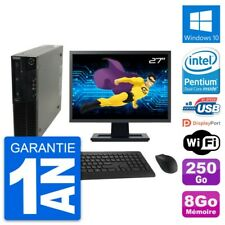 "PC LENOVO M82 SFF Screen 27 "" Intel G630 RAM 8Go Hard Drive 250Go Windows 10"